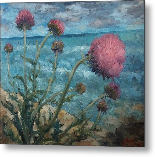 Flowers Metal Print featuring the painting Thistles By The Sea by Gabriela Anitei