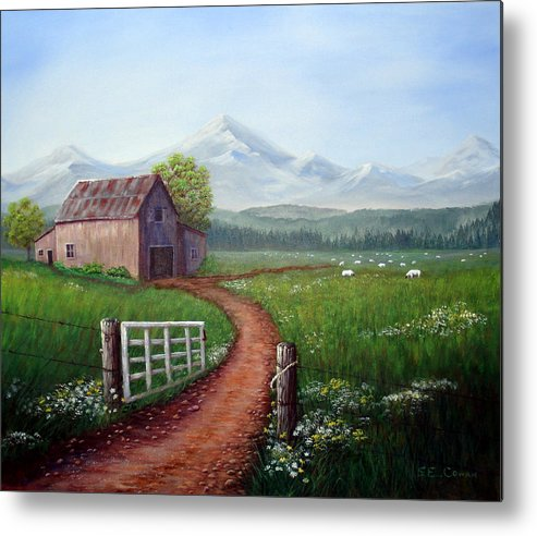 Mountains Metal Print featuring the painting Through The Gate by SueEllen Cowan