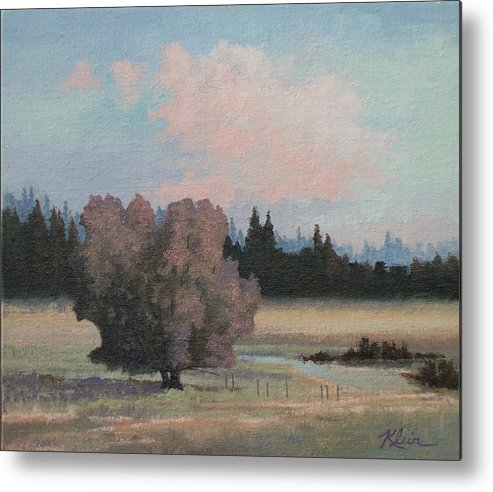 Landscape Metal Print featuring the painting Tree by Dalas Klein