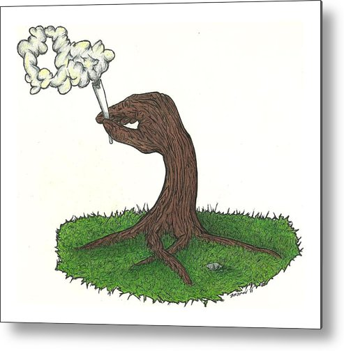 Trees Metal Print featuring the drawing Trees Smokin' Trees by Steve Weber
