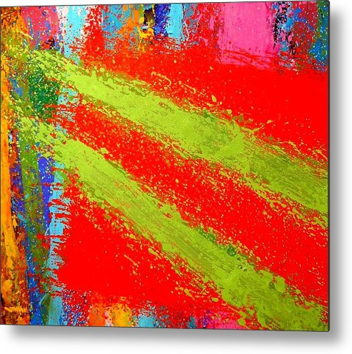 Abstract Irish Contemporary Modern Vibrant Music Jazz Artist Gallery Studio Red Green Colourful Acrylic Canvas Stylised Original Print Card Professional Art Auction Bid Metal Print featuring the painting Unison by John Nolan