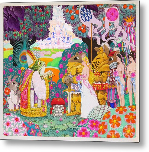 Fantasy Illustration; Medieval; Fantasy; Castles; Erotic Fantasy; Knights And Ladies; Frogs; Rabbits Metal Print featuring the painting Wedding by Terry Anderson