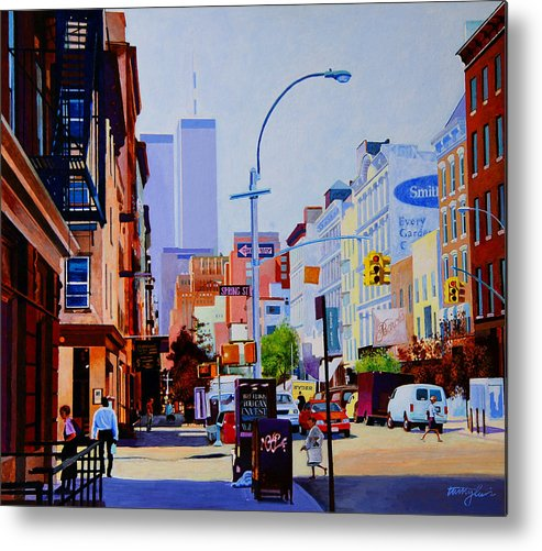 Spring Street Metal Print featuring the painting West Broadway by John Tartaglione