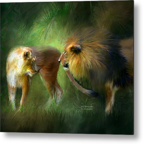 Lion Metal Print featuring the mixed media Wild Attraction by Carol Cavalaris