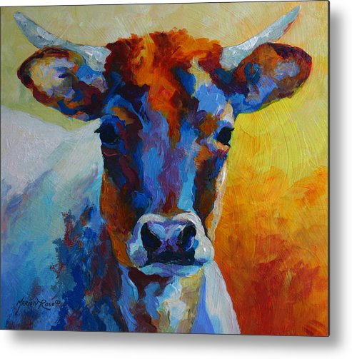 Western Metal Print featuring the painting Young Blood - Longhorn by Marion Rose