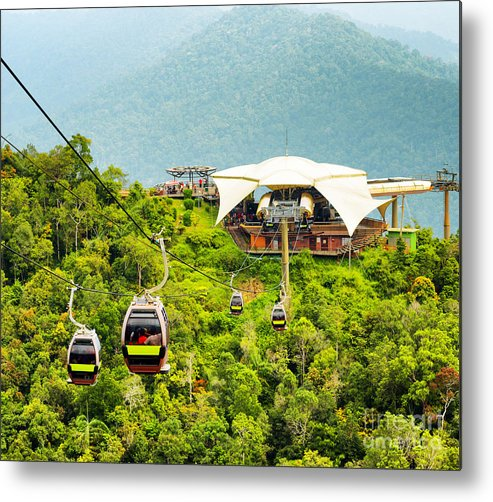 Panoramic Metal Print featuring the photograph Cable Car On Langkawi Island, Malaysia by Efired