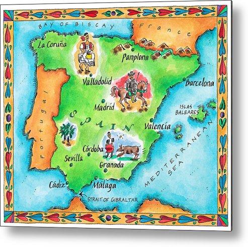 Map Of Spain To Print.Map Of Spain Metal Print