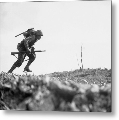Marine Metal Print featuring the photograph Marine Dash On Okinawa by War Is Hell Store