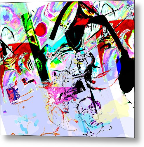 Abstract Metal Print featuring the mixed media Paris by Noredin Morgan