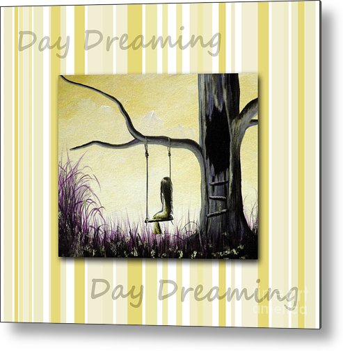 Nursery Decor Metal Print featuring the painting Day Dreaming In Yellow By Shawna Erback by Shawna Erback