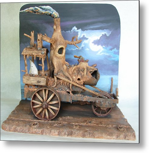 Ghost Metal Print featuring the sculpture Ghost Tractor by Stuart Swartz