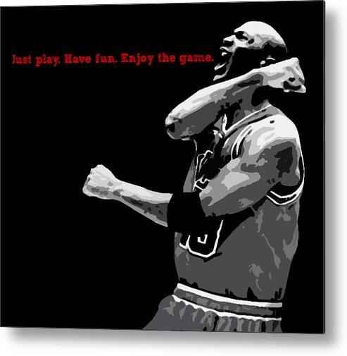 Michael Jordan Metal Print featuring the digital art Just Play by Mike Maher