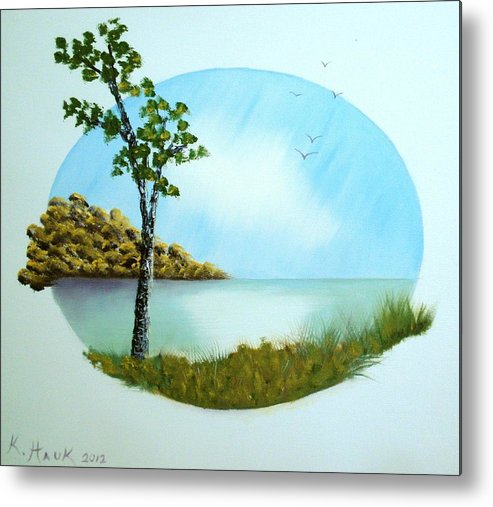 Landscape Metal Print featuring the painting Pleasant Day By The Lake. by Kristina Hauk