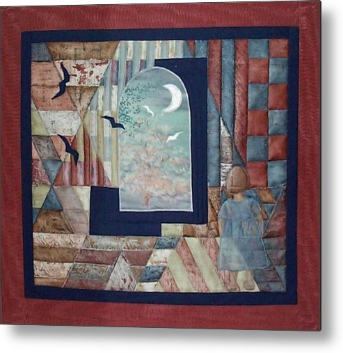 Collage Metal Print featuring the tapestry - textile There Is A Place... by Gun Legler