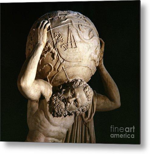Atlas Metal Print featuring the sculpture Atlas by Roman School