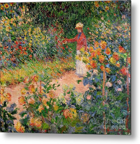 Garden Metal Print featuring the painting Garden At Giverny by Claude Monet
