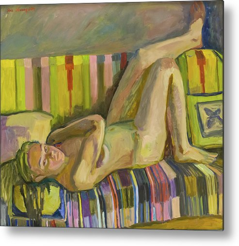 Nude Art Metal Print featuring the painting A Nude Lying Legs Up by Yana Poklad