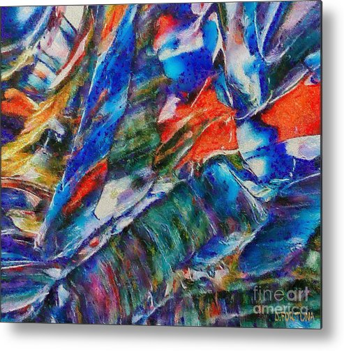 Abstract Metal Print featuring the mixed media abstract mountains II by Dragica Micki Fortuna