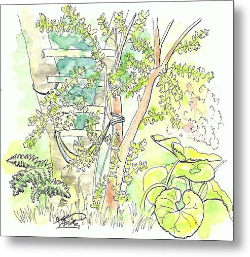 Watercolors Metal Print featuring the painting Backyard by George I Perez