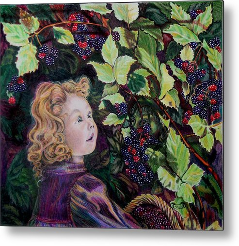 Blackberry Metal Print featuring the drawing Blackberry Elf by Susan Moore