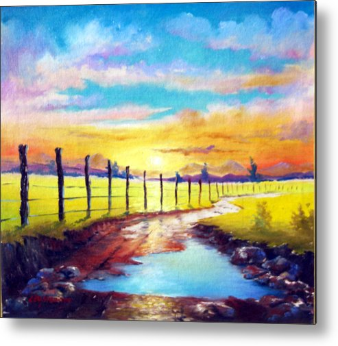 Landscape Metal Print featuring the painting By The Sun In The Field by Leomariano artist BRASIL