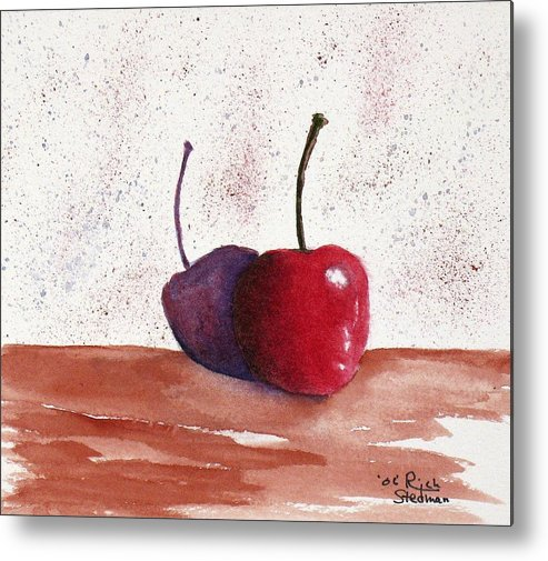 Food And Beverage Metal Print featuring the painting Cheery Cherry by Rich Stedman