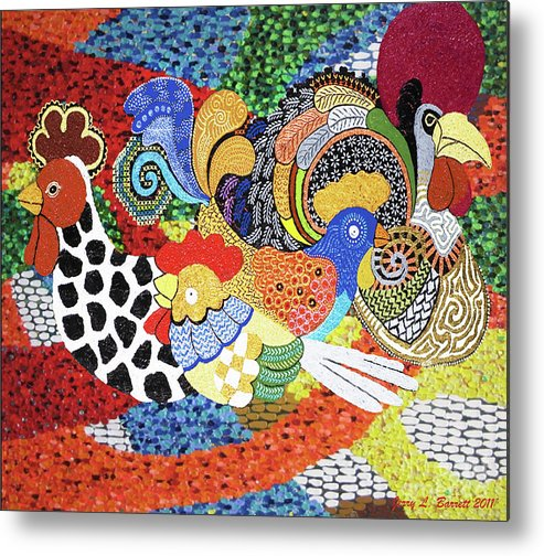 Chickens Metal Print featuring the mixed media Chickens by Jerry L Barrett