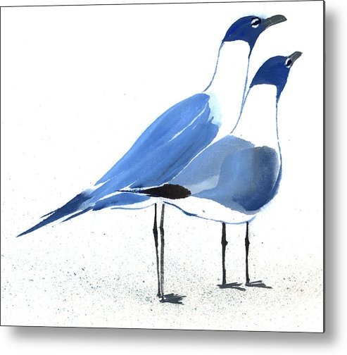 A Couple Of Sea Birds Standing Still.  This Is A Contemporary Chinese Ink And Color On Rice Paper Painting With Simple Zen Style Brush Strokes.  Metal Print featuring the painting Content by Mui-Joo Wee