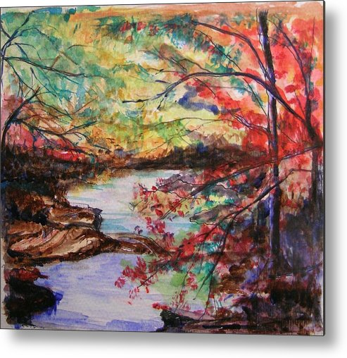Creek Metal Print featuring the painting Creek Blue Ridge Mountains by Lizzy Forrester