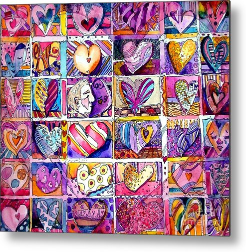 Love Metal Print featuring the painting Heart 2 Heart by Mindy Newman