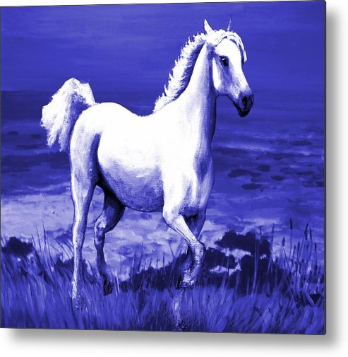 White Metal Print featuring the painting Moonlit Path by Graham Keith