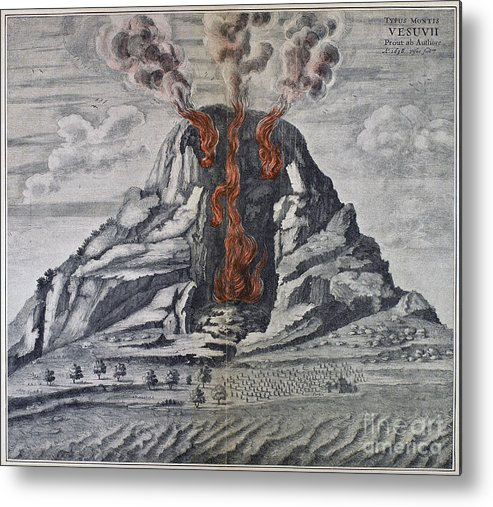 1665 Metal Print featuring the photograph Mount Vesuvius, 1665 by Granger
