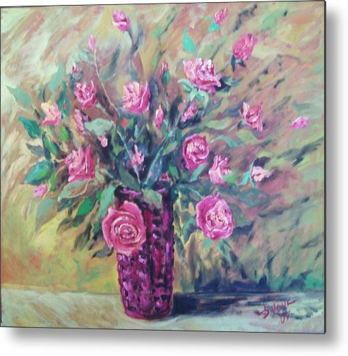 Flowers Painting Metal Print featuring the painting Roses by Vladimir Domnicev
