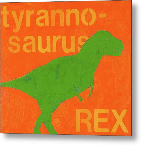 Dinosaur Painting Metal Print featuring the painting T Rex by Laurie Breen