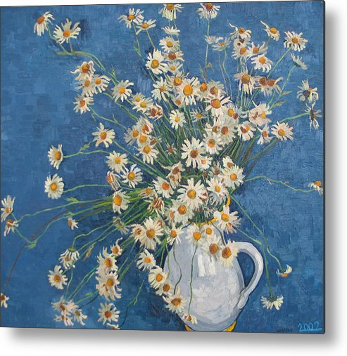 Flower Metal Print featuring the painting White Chamomile Flowers With Blue Background by Vitali Komarov