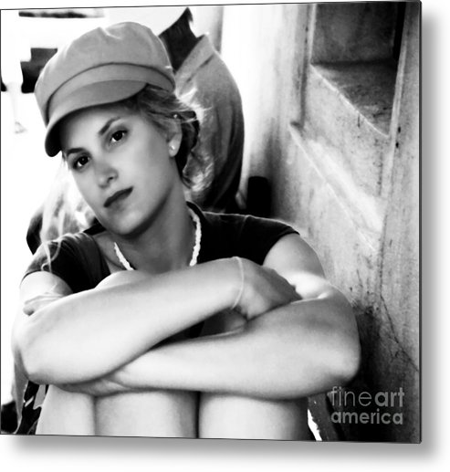 Woman Metal Print featuring the photograph Portrait In Black And White by Madeline Ellis