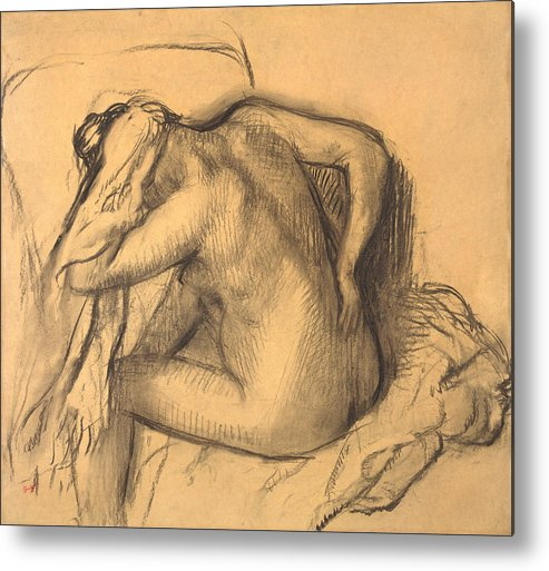 Edgar Degas Metal Print featuring the drawing After The Bath .woman Drying Her Hair by Edgar Degas