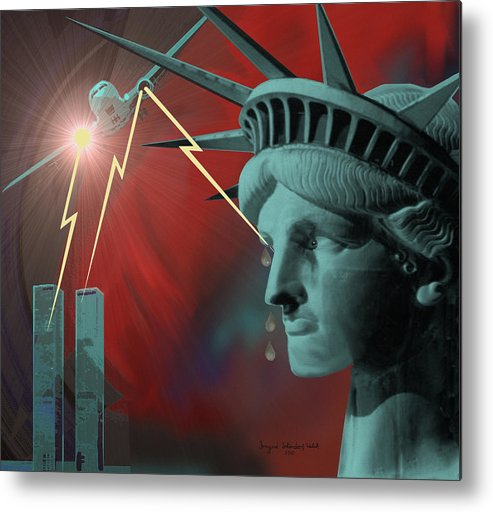 September Nine-eleven Metal Print featuring the painting Americas Deepest Wound - 100 by Irmgard Schoendorf Welch