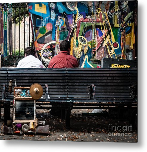 Bench Metal Print featuring the photograph Guys On A Bench - Jackson Square by Kathleen K Parker
