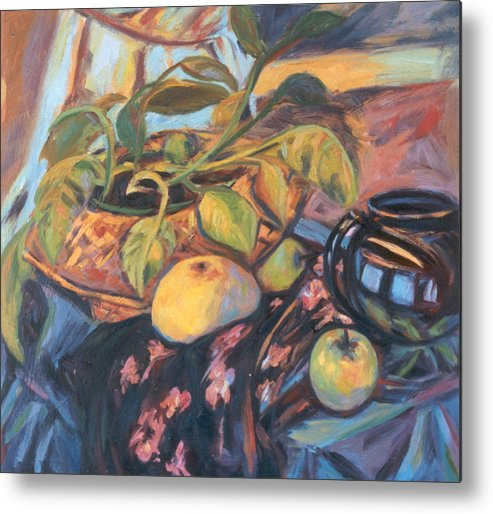 Still Life Metal Print featuring the painting Pollys Plant by Kendall Kessler