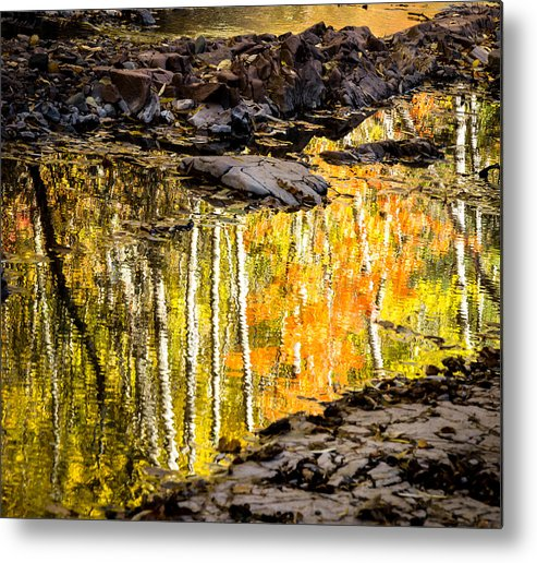 Reflection Autumn autumn Reflection fall Colors Duluth Nature Magical Serene amity Creek Minnesota fleeting Moment Metal Print featuring the photograph A Moment Of Reflection by Mary Amerman
