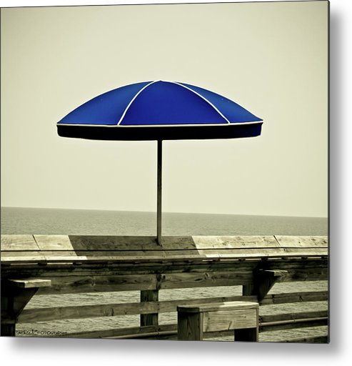 Pier Myrtle Beach Sc Metal Print featuring the pyrography Blue Umbrella by Gib LaStrapes