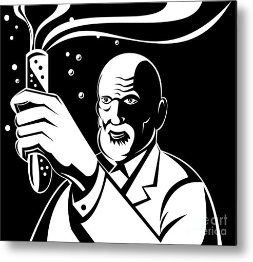 Illustration Metal Print featuring the digital art Crazy Mad Scientist Test Tube by Aloysius Patrimonio