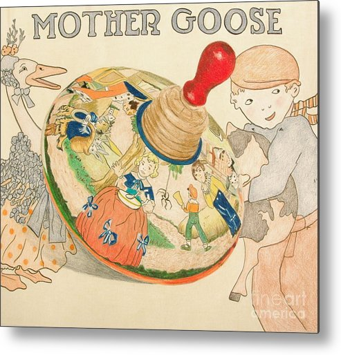 Toy Metal Print featuring the drawing Mother Goose Spinning Top by Glenda Zuckerman