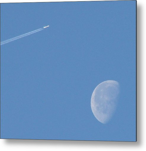 Moon Metal Print featuring the photograph Flying Over The Moon by Liz Vernand