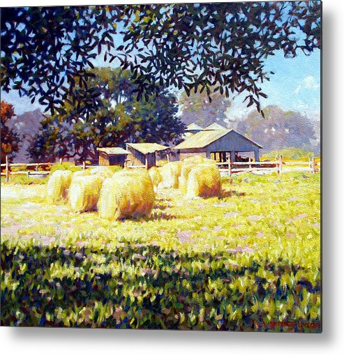 Hay Metal Print featuring the painting Jenny Rays Farm by Kevin Lawrence Leveque