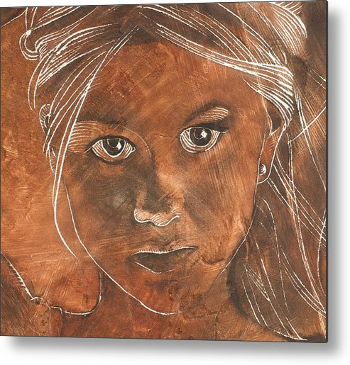 Nude Metal Print featuring the painting Angel In Process Head Detail by Richard Hoedl