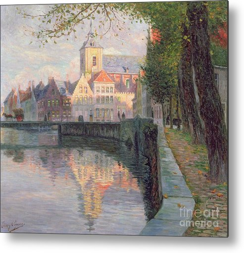 Autumn In Bruges (oil On Panel) By Omer Coppens (1864-1926) Metal Print featuring the painting Autumn In Bruges by Omer Coppens