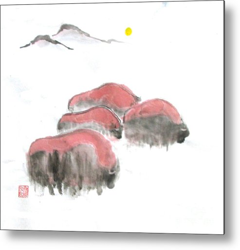 A Herd Of Bison .  Metal Print featuring the painting Bisons In Snow I by Mui-Joo Wee