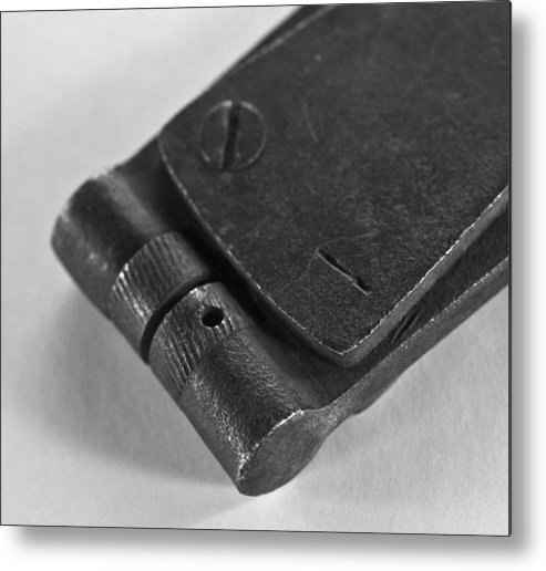 Vintage Tools Metal Print featuring the photograph Black And White Handheld Holepunch by Wilma Birdwell